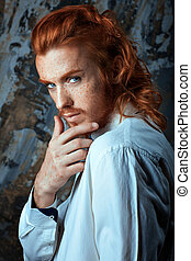 Red-haired metrosexual man - Red-haired man with a beard and...