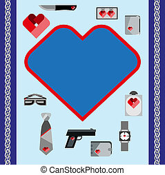 St. Valentines Day Symbols mens Accessories Icons Set Flat Design