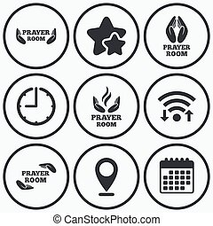 Prayer room icons Religion priest symbols - Clock, wifi and...