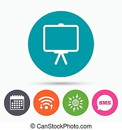 Presentation billboard sign icon PPT symbol - Wifi, Sms and...