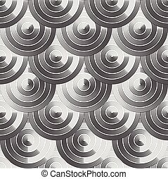 Modern geometric ornament background with rows of circles - vector seamless pattern