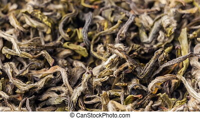 Green tea leaves close up