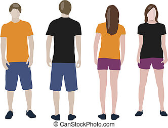 Black, Orange T-shirt design templates front back on male...