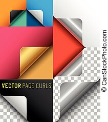 Vector Paper Page Curl Set. A collection of page curls....