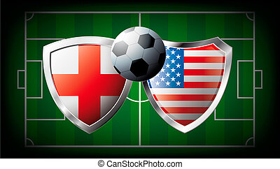 England versus USA abstract vector illustration isolated on white background. Soccer match in South Africa 2010. Shiny football shield of flag England versus USA