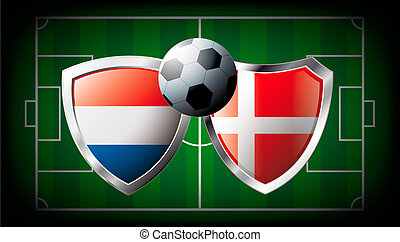 Netherlands versus Denmark abstract vector illustration isolated on white background. Soccer match in South Africa 2010. Shiny football shield of flag Netherlands versus Denmark