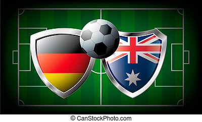 Germany versus Australia abstract vector illustration isolated on white background. Soccer match in South Africa 2010. Shiny football shield of flag Germany versus Australia