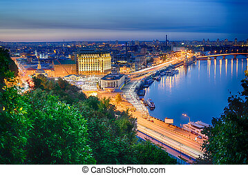Night panorama of Podol in Kiev - Beautiful View of the...