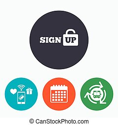 Sign up sign icon. Registration symbol. Lock icon. Mobile...