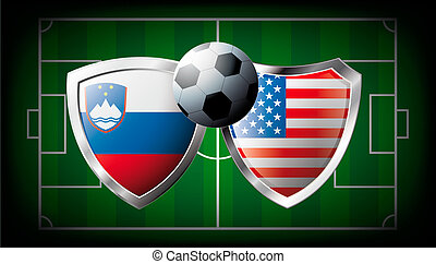 Slovenia versus USA abstract vector illustration isolated on white background. Soccer match in South Africa 2010. Shiny football shield of flag Slovenia versus USA