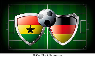 Ghana versus Germany abstract vector illustration isolated on white background. Soccer match in South Africa 2010. Shiny football shield of flag Ghana versus Germany