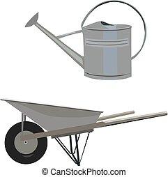 Garden set with wheelbarrow ewer