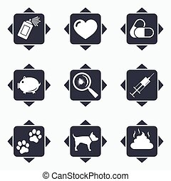Veterinary, pets icons Dog paws, syringe signs - Icons with...