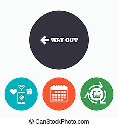 Way out left sign icon. Arrow symbol. Mobile payments,...