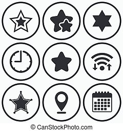 Star of David icons Symbol of Israel - Clock, wifi and stars...