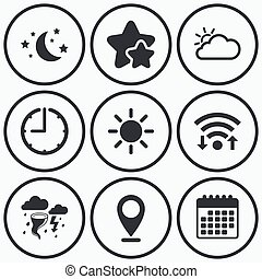 Cloud and sun icon Storm symbol Moon and stars - Clock, wifi...