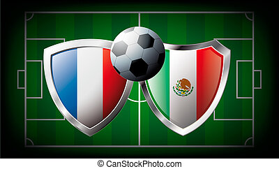 France versus Mexico abstract vector illustration isolated on white background. Soccer match in South Africa 2010. Shiny football shield of flag France versus Mexico