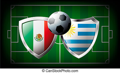 Mexico versus Uruguay abstract vector illustration isolated on white background. Soccer match in South Africa 2010. Shiny football shield of flag Mexico versus Uruguay
