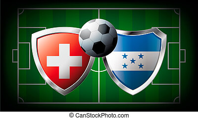 Switzerland versus Honduras abstract vector illustration isolated on white background. Soccer match in South Africa 2010. Shiny football shield of flag Switzerland versus Honduras