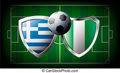 Greece versus Nigeria abstract vector illustration isolated on white background. Soccer match in South Africa 2010. Shiny football shield of flag Greece versus Nigeria