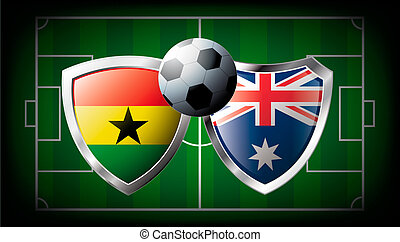 Ghana versus Australia abstract vector illustration isolated on white background. Soccer match in South Africa 2010. Shiny football shield of flag Ghana versus Australia