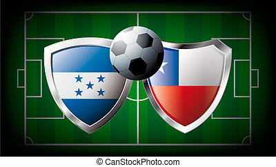 Honduras versus Chile abstract vector illustration isolated on white background. Soccer match in South Africa 2010. Shiny football shield of flag Honduras versus Chile