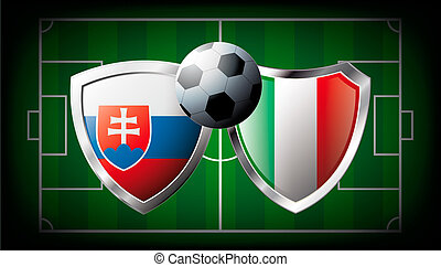 Slovakia versus Italy abstract vector illustration isolated...