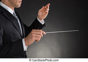 Person Directing With A Conductors Baton On Grey Background