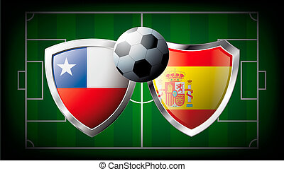 Chile versus Spain abstract vector illustration isolated on white background. Soccer match in South Africa 2010. Shiny football shield of flag Chile versus Spain
