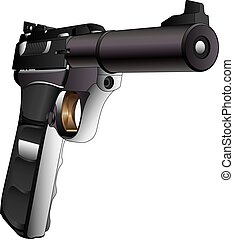 Gun Semi-Auto 22 Caliber is a detailed three quarter view...