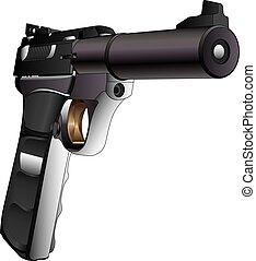 Gun Semi-Auto 22 Caliber is a detailed three quarter view...