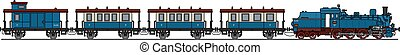 Old steam train - Hand drawing of a classic blue steam train...