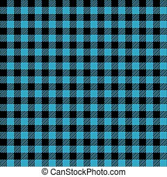 mless Blue and Black Check Fabric Pattern