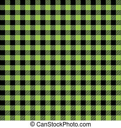 Seamless Green and Black Check Fabric Pattern