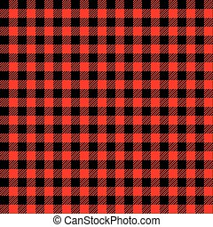 Seamless Red and Black Check Fabric Pattern