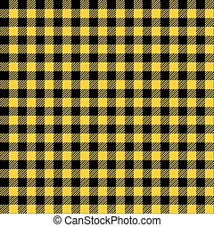 Seamless Yellow and Black Check Fabric Pattern