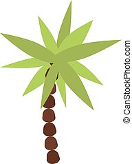 Palm , summer tree tropical beach illustration.