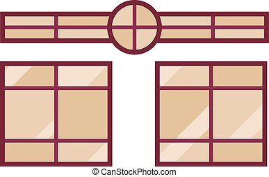 Different types house windows vector elements isolated on...