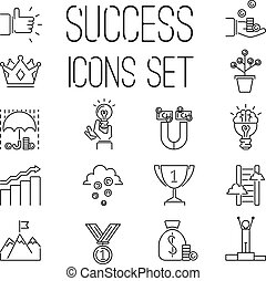 Business success vector icons set isolated on white -...