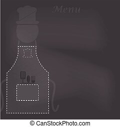 Apron with menu on chalk board background