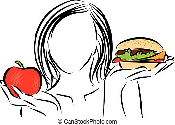 woman nutrition choice illustration