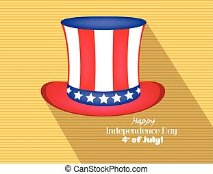 Hat in the USA flag colors flat icon