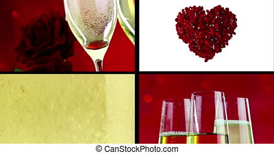 multiscreen scene with pouring, drink and close-up champagne in the flutes with bubbles with red petals roses flying on red bokeh background, love and valentine day, scene with split screen