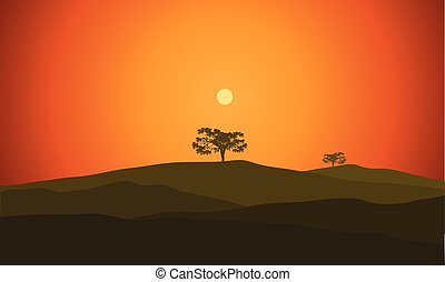 illustration landscape with silhouette