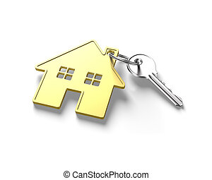 3D silver key and gold house shape key ring
