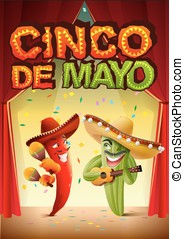 Cinco de Mayo. Mexican cactus in sombrero playing guitar....