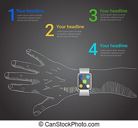 smart watch infographic  in vector style