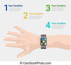 smart watch infographic  in vector