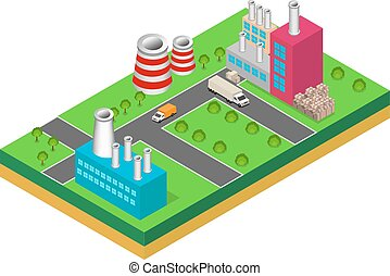 industrial buildings factories and boilers in perspective,...