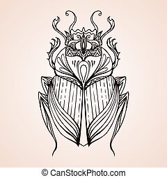 Hand drawn vintage scarab. Insect with doodle pattern. Vector element for tattoo sketch, printing on T-shirts, postcards and your design